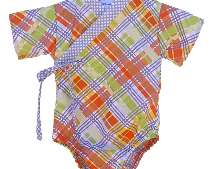 Baby Kimono Bodysuit - ORANGE PLAID - Baby outfit - cool baby clothes japanese jinbei
