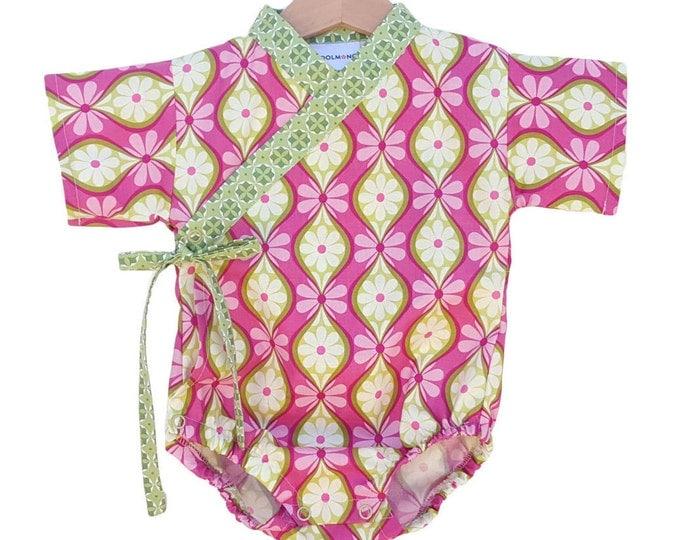 Kimono for Baby - PINKY VERDE - Baby onesie - Japanese kimono babies toddler