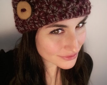 Crimson Stone Chunky Button Headband//Eco//Boho//Hippie ***READY TO SHIP***