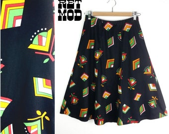Awesome Vintage 70s Boho Abstract Midi A-Line Skirt in Black, Orange, Yellow & Green Flower Pattern!