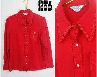Iconic Vintage 70s Bright Red Shirt with White Stitching and Pointy Collar!