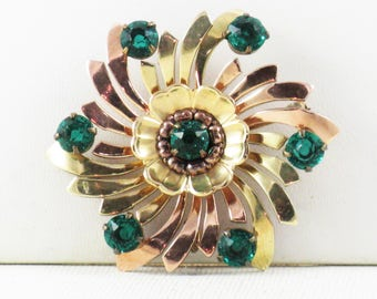 Vintage Roles Gold Filled Floral Green Rhinestone Brooch Pin (B-3-1)