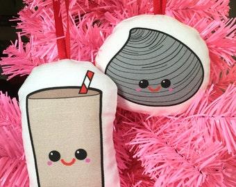 Rhode Island Duo- Quahogs and Coffee Milk Christmas Ornaments