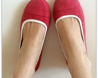 SALE -LUNAR- Ballet Flats - Suede Shoe - 38 - Watermelon red. Available in different sizes