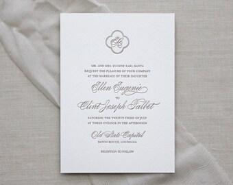 Letterpress Wedding Invitation - Lyon Design - Foil Stamping- Calligraphy,Traditional, Elegant, Simple, Classic, Script, Border