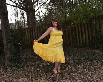 Sunshine DayDream Swiss dot Gypsy Yellow Sun Dress  Hippie Dress Knottymama HANDMADE Sweetheart Bodice BOHO  Hippie Plus size 18/20