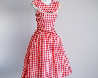 Red Gingham Cotton Day Dress- Sz M