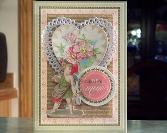 """Handmade Valentines Day Card - 5"""" x 7"""" - Anna Griffin So Smitten - Be Mine - Heart Paper Doily & Cupid"""