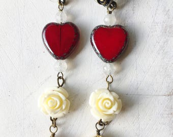 Deepika Cream Rose Red Heart Fairytale Earrings by MinouBazaar