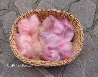 Mix pink shades Mohair fiber ready to art batt, drym carder hand processed fiber for filz, spinning other crafts