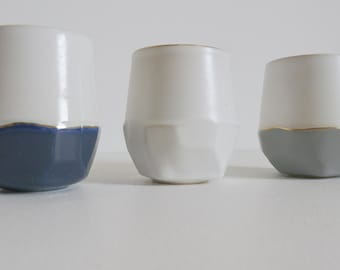 Ceramic Tumbler; Textured Cup; Pottery Cup; Faceted Tumbler; Gold