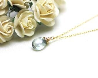 Light Smoky Blue Quartz Gemstone Pendant Necklace on Gold Filled | Gift for Woman | Modern, Minimal, Comfortable Jewelry by Azki