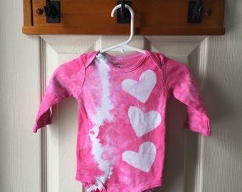 Pink Baby Bodysuit, Girl Baby Bodysuit, Tie Dye Baby Bodysuit, Baby Girl Bodysuit, Hearts Baby Bodysuit, Baby Girl Gift (6 months)