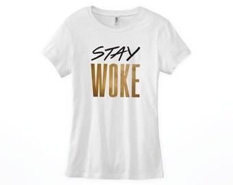 Stay Woke Scoop Neck, V Neck Women's Shirt, Racerback Tank Top Black Lives Matter Shirt, Social Justice Shirt, Human Rights Shirt, #staywoke