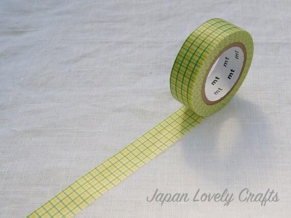Jaune citron ruban vert grille mt japonais washi papier - Masking tape traduction ...
