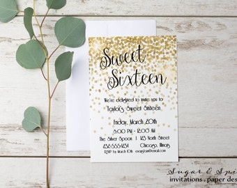 Sweet Sixteen Invitation, Sweet 16 Invitation, 16th birthday invitation, Kids Birthday Invitation, Teen Birthday Invitation