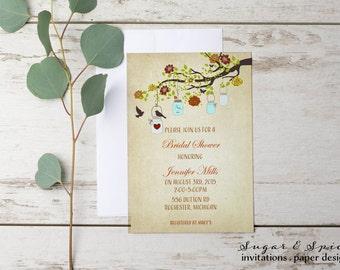 rustic bridal shower invitation mason jar bridal shower invitation wedding shower invitation printable