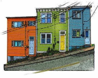 Jelly Bean Houses Historic Architecture St Johns Newfoundland Art Computer Illustration from Original Photography