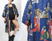 Vintage Japanese Kimono Cotton Kimono Geishas Print Robe Navy Blue Cotton Gold Painted Japan Samurai Short Dressing Gown (L) E6031