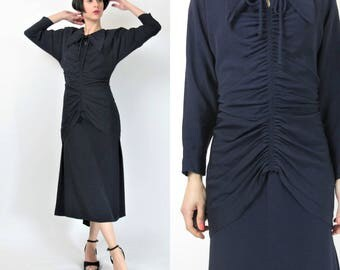 Vintage 1940s Dress Dark Navy Blue Dolman Sleeve 40s Pinup Gothic Shirred Waist Pointed Collar Dress Gathered Draped Train Dress (S/M) E4042
