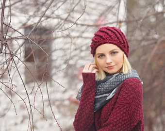 Burgundy Hat, Womens Beanies, Gifts for Teenage Girls, Cute Beanie, Crochet Beanie, Knit Beanie, Hand Crocheted Items, College Student Gift