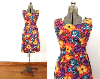 1960s Floral Wiggle Dress / 60s 1950s Colorful Floral Rhinestone Dress