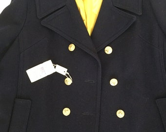 Vintage 60s Navy Wool Pea Coat Plus Size Totally Perfect!