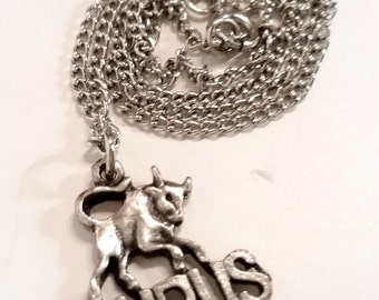Vintage Taurus zodiac astrological sign necklace silver tone