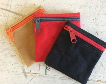 Change purse, condom pouch, vegan coin purse,change pouch, zipper pouch, extra small zip pouch, pocket pouch, credit card pouch