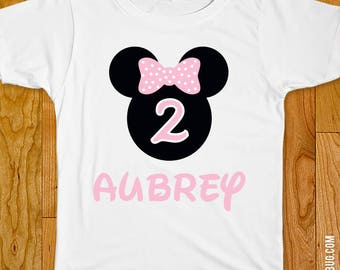 Baby Pink Minnie Mouse Birthday Iron-On Shirt Design - Choose child or onesie size