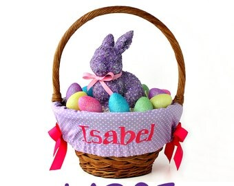 Large Personalized Easter Basket Liner for oversized baskets, Lavender Dot, Basket not included, Jumbo, Monogrammed basket liner