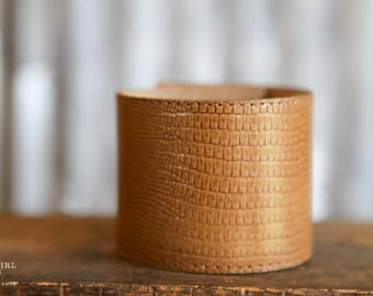 CUSTOM HANDSTAMPED CUFF - bracelet - personalized by Farmgirl Paints - wide caramel colored cuff with faux crocodile pattern