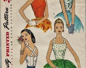 Simplicity 1661 / Vintage 50s Sewing Pattern / Blouse Shirt Halter Top Corset / Size 16 Bust 34