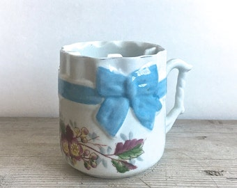Antique Mustache Cup Mug Germany  Floral Blue Bow Pretty Shabby Cottage Victorian
