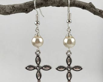 Cross Earrings - Pearl Color Options - Antique Silver Cross with glass pearl - Custom Options - Religious Jewelry