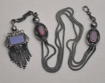 Antique Watch Chain Solid Silver with Moonstone Glass Napoleon III Tassel Fob French Made in France