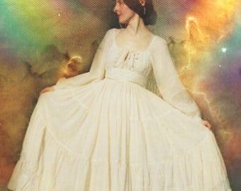 Size XS... Vintage Gunne Sax Dress... Maxi Dress... Blue and White... Insta Princess