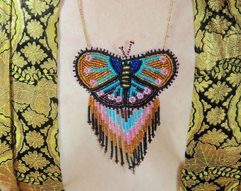 Beaded Butterfly Necklace... Oaxacan Beading... Gypsy Boho Necklace