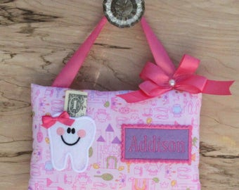 Tooth fairy pillow,Once upon a time,Girl tooth fairy pillow,Pink tooth fairy pillow,Castles,Fairy tale,Pillow,Tooth pillow