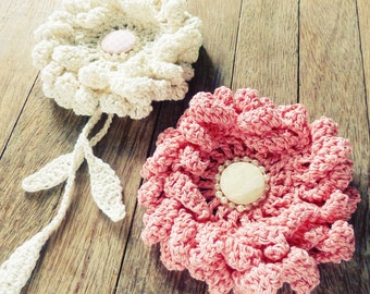 Flower Crochet Pattern PDF - Peony easy beginner crochet tutorial - Instant Download