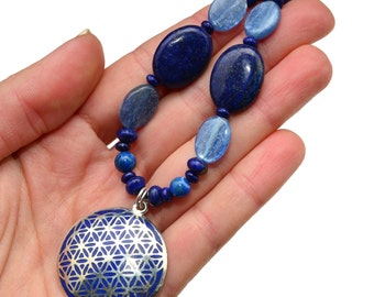 FLOWER of LIFE Pendant Necklace with Beads of Blue Kyanite and Lapis Lazuli - Sacred Geometry Crystal Necklace, Unisex, Adjustable
