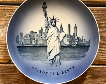 1970s Statue of Liberty Royal Copenhagen Signed Wall Plate New York City Skyline Soft Blue Hand Painted Great Mid Mod Commemorative