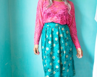 VINTAGE teal green and gold oriental pint midi length skirt U.K. size S (10) 1980's.