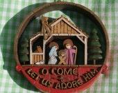 Vintage Hallmark O Come Let Us Adore Him Christmas Ornament, Nativity Theme, Undated