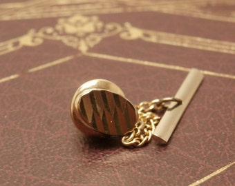 Oval Swank Tie Tack, Vintage 1960s or 70s, Gold Toned Classic Styling