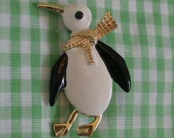 Vintage Gerry's Penguin in Scarf Brooch, Pin, Unusual Bird