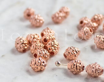 10 small Bali Style Mykonos Greek beads, Bright Rose Gold on copper, Rustic dotty oval Barrel Spacer Bead, beads with dots 6X4mm