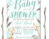 Baby Boy Shower Invitation, Watercolor Woodland Baby Shower, Woodland Baby Boy Shower, Fox Baby Shower Invitation, Woodland theme, Printable