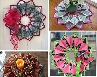 Fold'n Stitch Wreath Pattern - Candle Ring Pattern - Three Dimensional Fabric Wreath Pattern - Poorhouse Quilt Designs - Centerpiece Pattern
