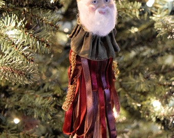 Old World SANTA CLAUS Tree ORNAMENT Christmas Tassel Burgundy Red Green Gold Fabric Trim St Nick Katherines Collection Wayne Kleski Tassle
